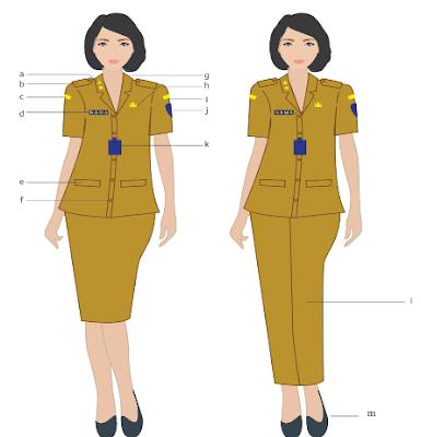 pakaian dinas PNS 2020 warna khaki untuk wanita
