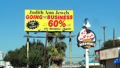 Judith Ann Jewels Going-out-of-business Billboard announcement on Kirby Drive at Nottingham