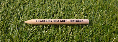 A pencil from Lumberjax Mini Golf in New Zealand from our friend James Astrop
