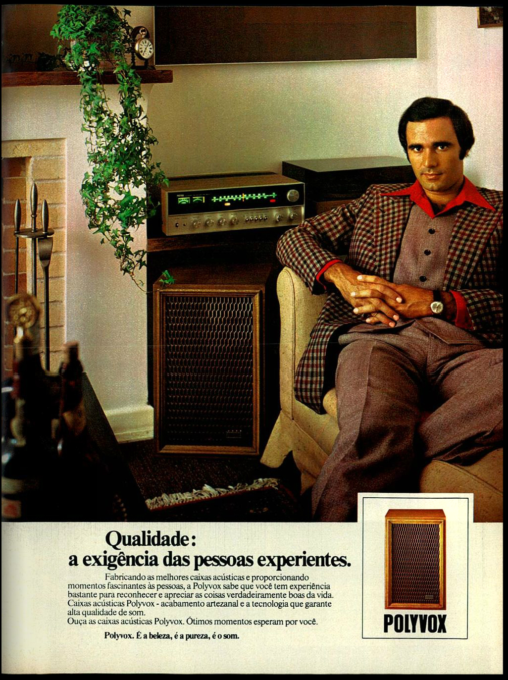 Campanha de 1976 da Polyvox promovendo sua caixa acústica