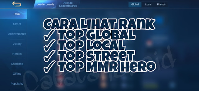 Cara Lihat Rank Top Global Local Street Hero ML