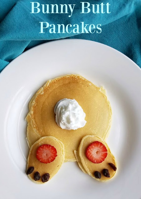 This is kind of a 2-for-1 special. You get our favorite easy recipe for homemade pancakes.  You also get plenty of inspiration to turn those pancakes into a cute bunny butt.  They would be fun any old time, but they are an especially cute and easy Easter breakfast. So whip up the pancakes all year long and sprinkle in some bunny butts along the way!