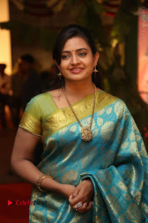 Actress Indraja Stills in Blue Silk Saree at Shatamanam Bhavathi Audio Launch  0019.JPG