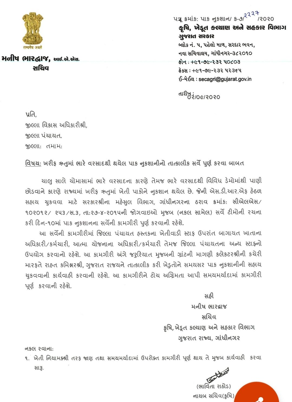 Gujarat Khedut sarve kamgiri 2020