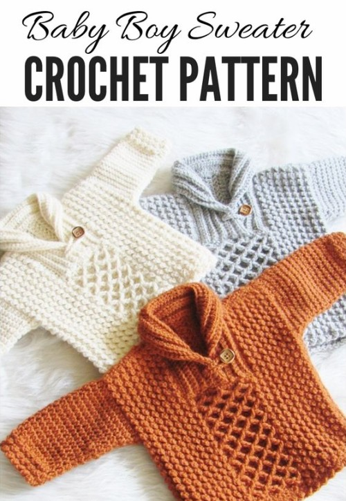 Textured Baby Boy Sweater - Crochet Pattern