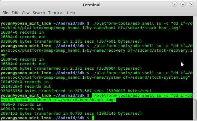 Backing up the stock partitions of Android Kindle Fire HD 7