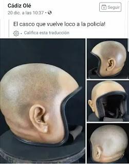 Casco de moto que parece cabeza de persona humana