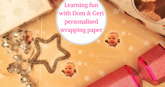 Xmas Day learning fun with Dom and Geri personalised wrapping paper