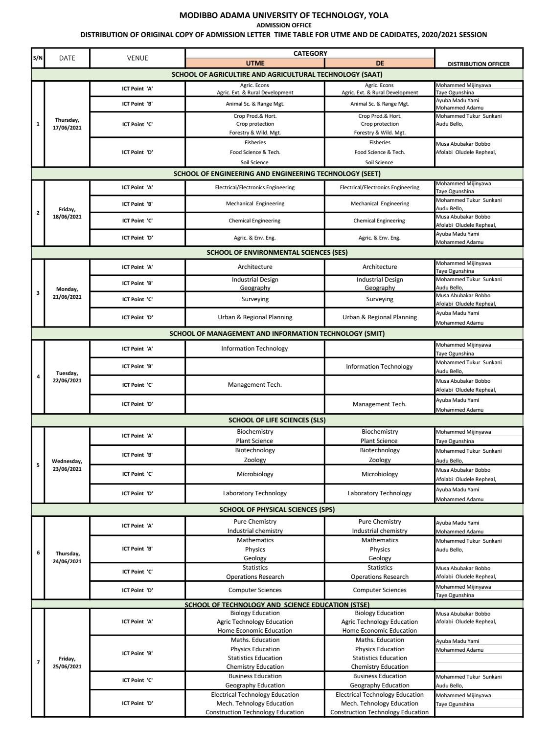 MAUTECH Original Admission Letter Collection Timetable 2020/2021