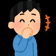 口を隠して笑う人のイラスト(男性)