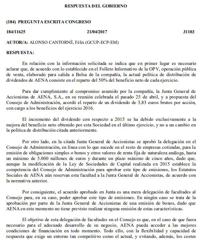 Preguntas del Diputado Félix Alonso (Unidos Podemos) sobre AENA ...