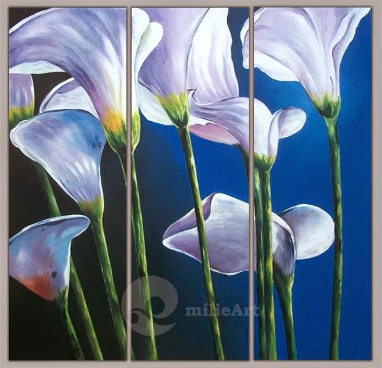 Lukisan Bunga Lily Putih 3 Panel 120x120cm MB-063