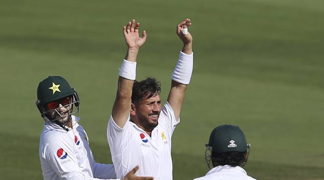 Yasir Shah after taking a wicket
