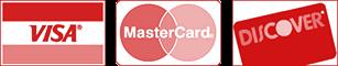We Accept Visa, MasterCard, Discover Cards