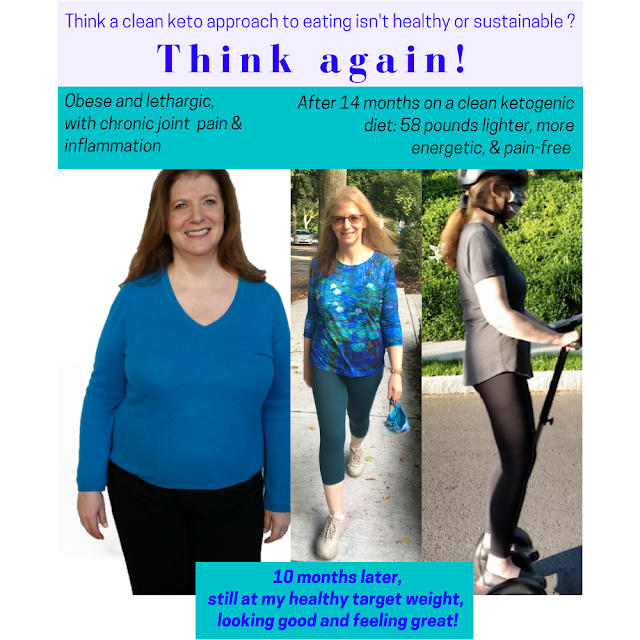 3 side-by-side photos of same woman before and after losing weight and keeping it off with a ketogenic diet