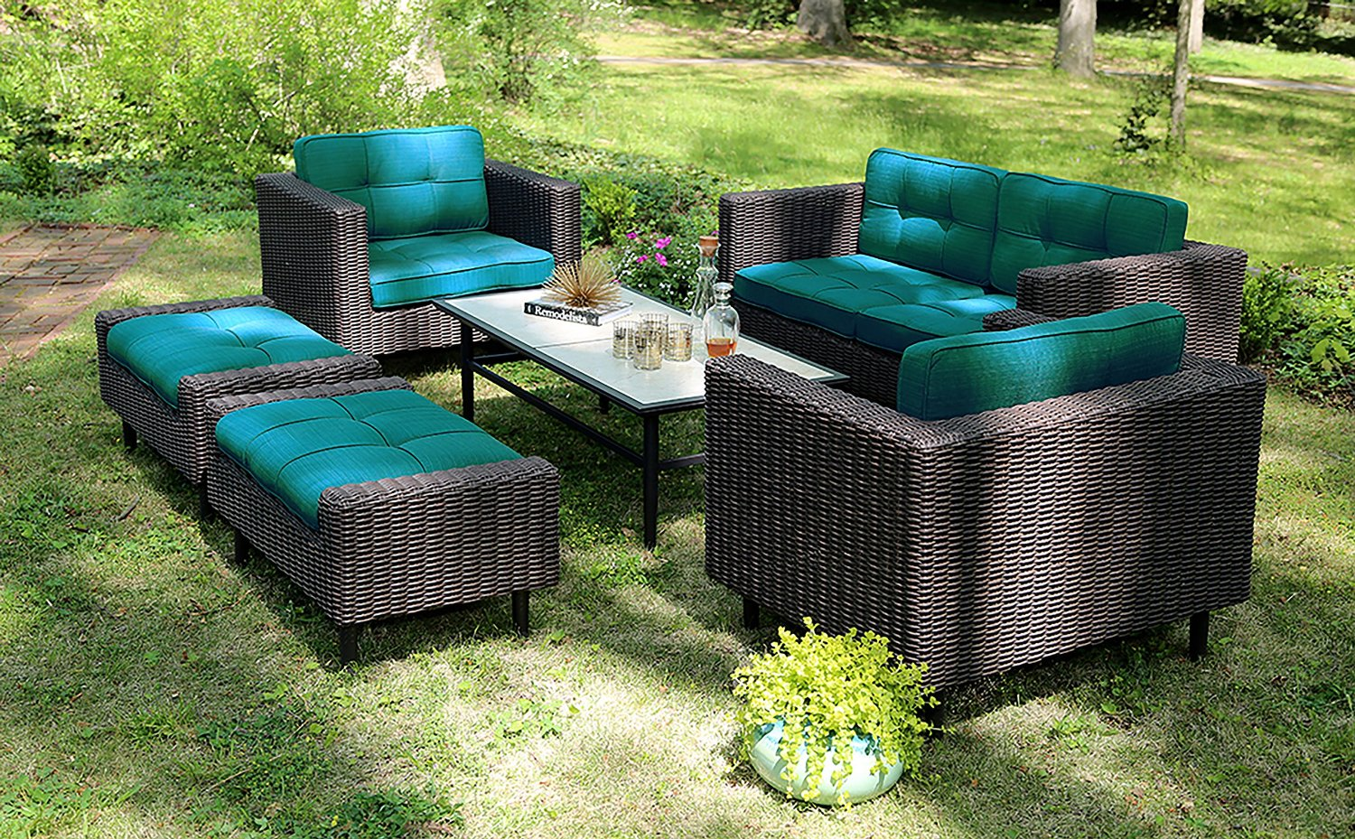 Ae outdoor 6 piece all weather wicker wright deep seating for All weather material