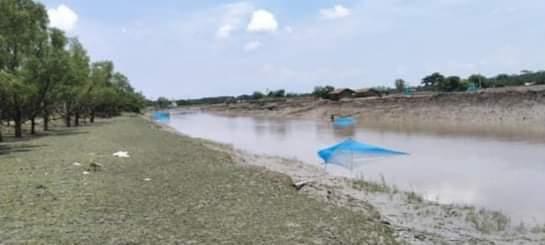 আশাশুনির বিভিন্ন নদীতে নেট জাল দিয়ে   রেণু পোনা নিধন চলছে
