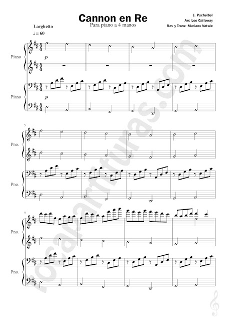 Canon en Re Partitura para Piano a 4 Manos Larghetto (partituras para profesor y alumno a dúo) Sheet Music for Pianists Cannon in D by Pachelbel (Teacher & Students Music scores)