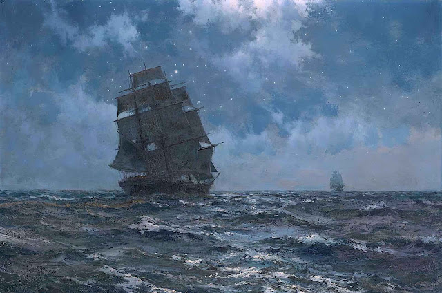 a Montague Dawson painting of a blue ship at night with stars