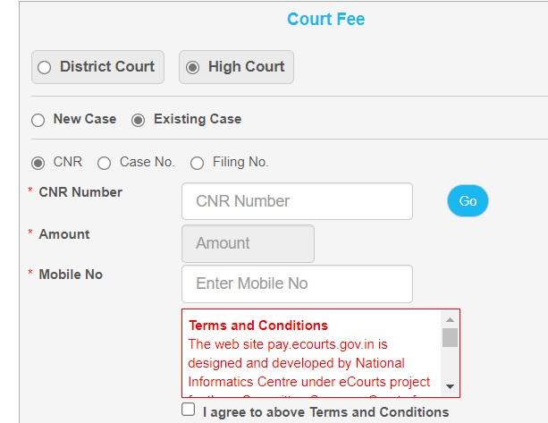 calcutta high court fee payment online