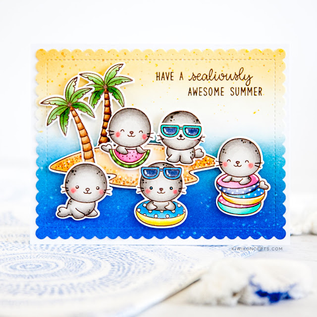 Sunny Studio Stamps: Sealiously Sweet Tropical Scenes Summer Themed Cards by Keeway Tsao