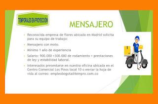 Empleo como Mensajero en Bogota