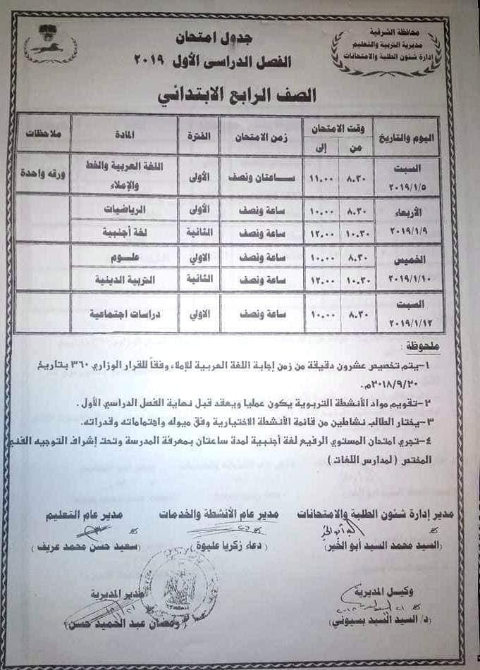جدول امتحانات الصف الرابع الابتدائي 2019 محافظة الشرقية
