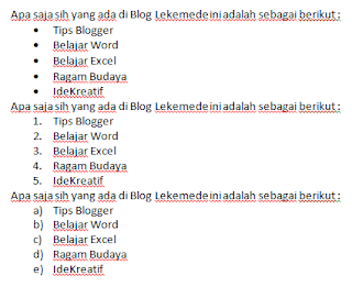 cara menggunakan bullets numbering pada ms word