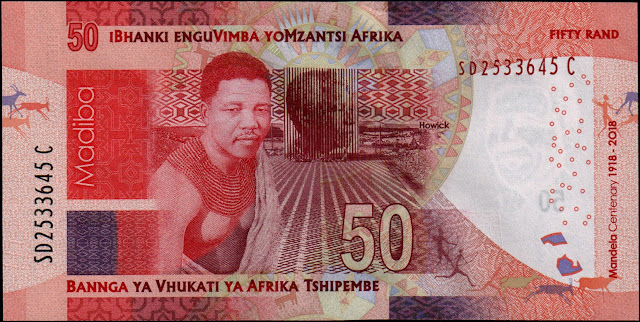 South African Currency 50 Rand Commemorative banknote 2018 Nelson Mandela 100th birthday