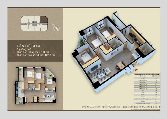 Thiết kế căn hộ chung cư Vinata Tower CO-04