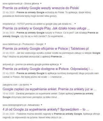 Ankiety Google w Polsce.