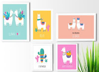 Kit 5 quadros decorativos No Lhama