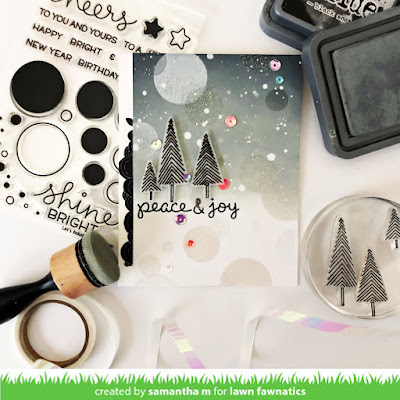 Peace & Joy Card by Samantha Mann, Lawn Fawnatics Challenge, Lawn Fawn, Mood Board Inspiration, Distress Inks, Distress Oxide, Ink Blending, Heat Embossing, Christmas, Christmas Card, Cards, #lawnfawn #lawnfawnatics #distressoxide #inkblending #christmascard #bokeh