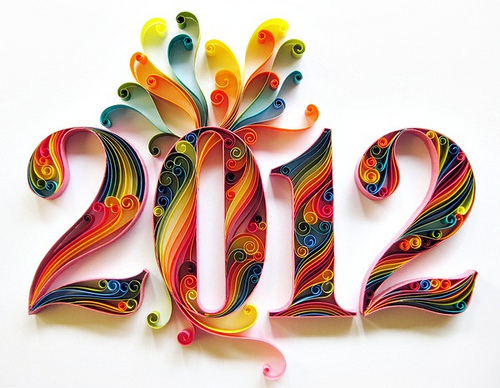 colorful quilled numbers 2012
