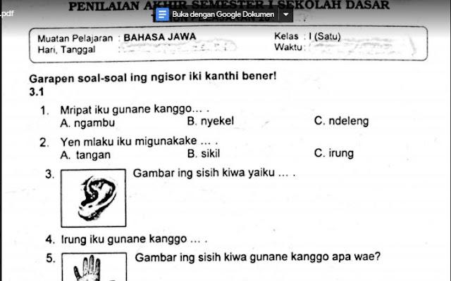 Naskah Soal Ulangan Bahasa Jawa Kelas 1 Semester 1 K13