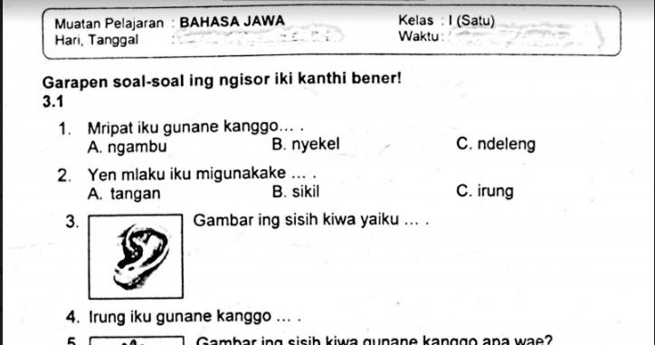 Materi Bahasa Jawa Kelas 1 Sd Kurikulum 2013 Guru Galeri
