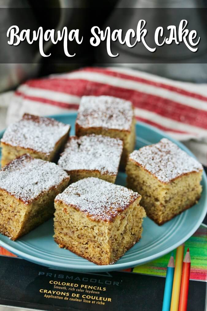 Banana Snack Cake cut into squares