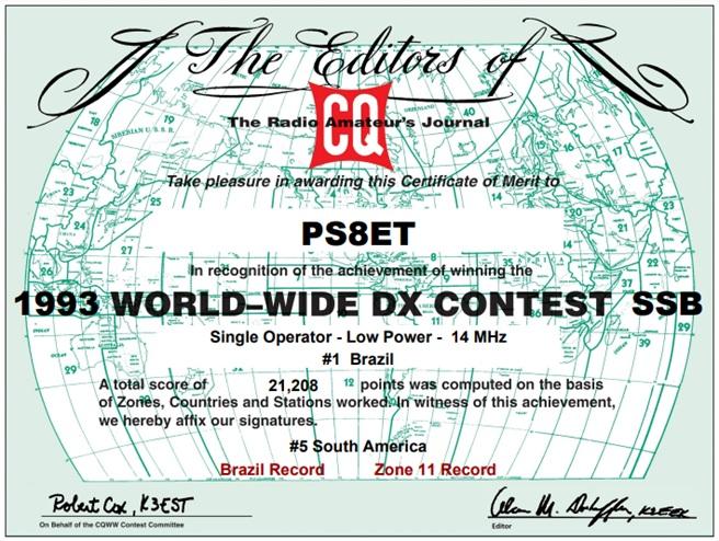 CQWWSSB - 1º Lugar 1993 - 20m