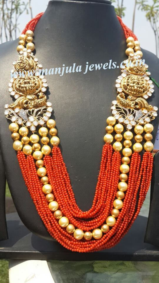 Coral Long Set by Manjula Jewels