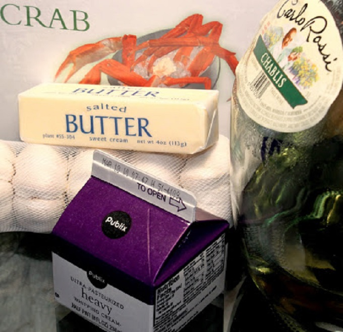 butter ,wine, heavy cream for the crab and shrimp wine sauce