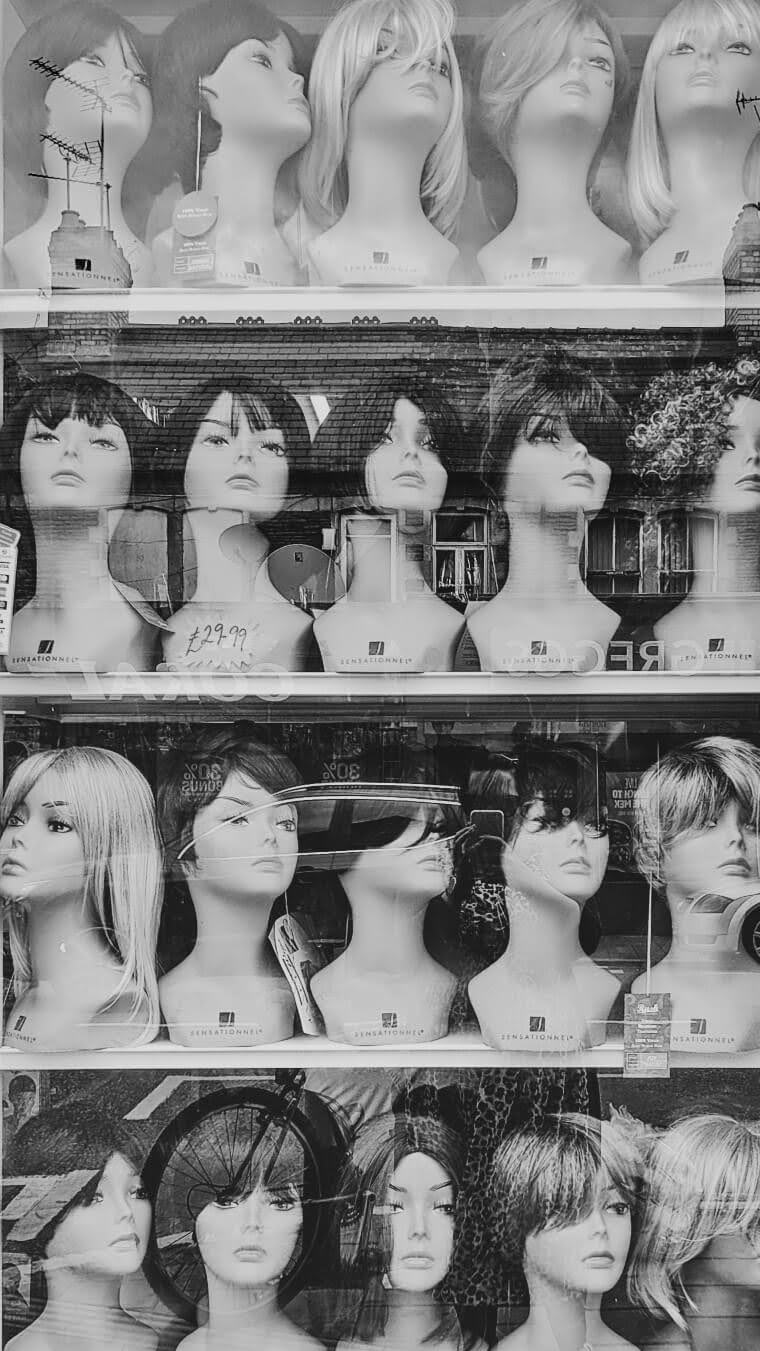 Heads with wigs in Cardiff | cardboardcities