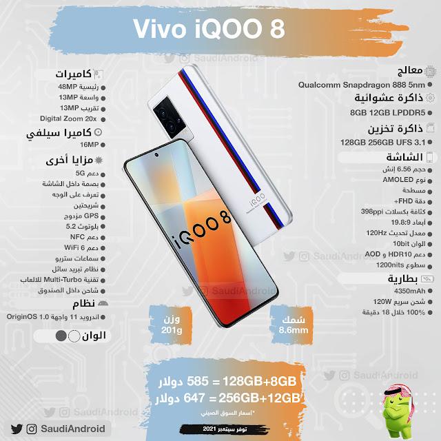 انفوجرافيك : مواصفات & مميزات هاتف iQOO8 و نسخة برو iQOO8 Pro