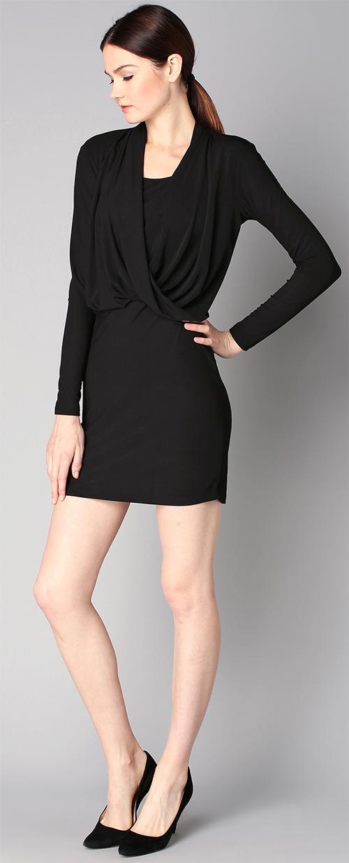 Robe courte drapée noire manches longues Vila