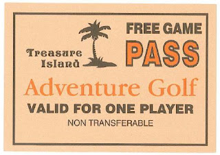 I won this Free Game Pass by firing the cannon on the Lucky Last Hole on the very first course we visited on our Crazy World of Minigolf Tour