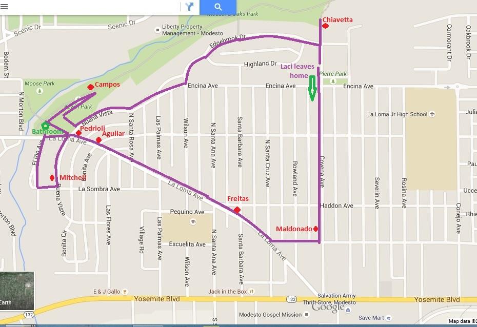 Laci Peterson Walk Map