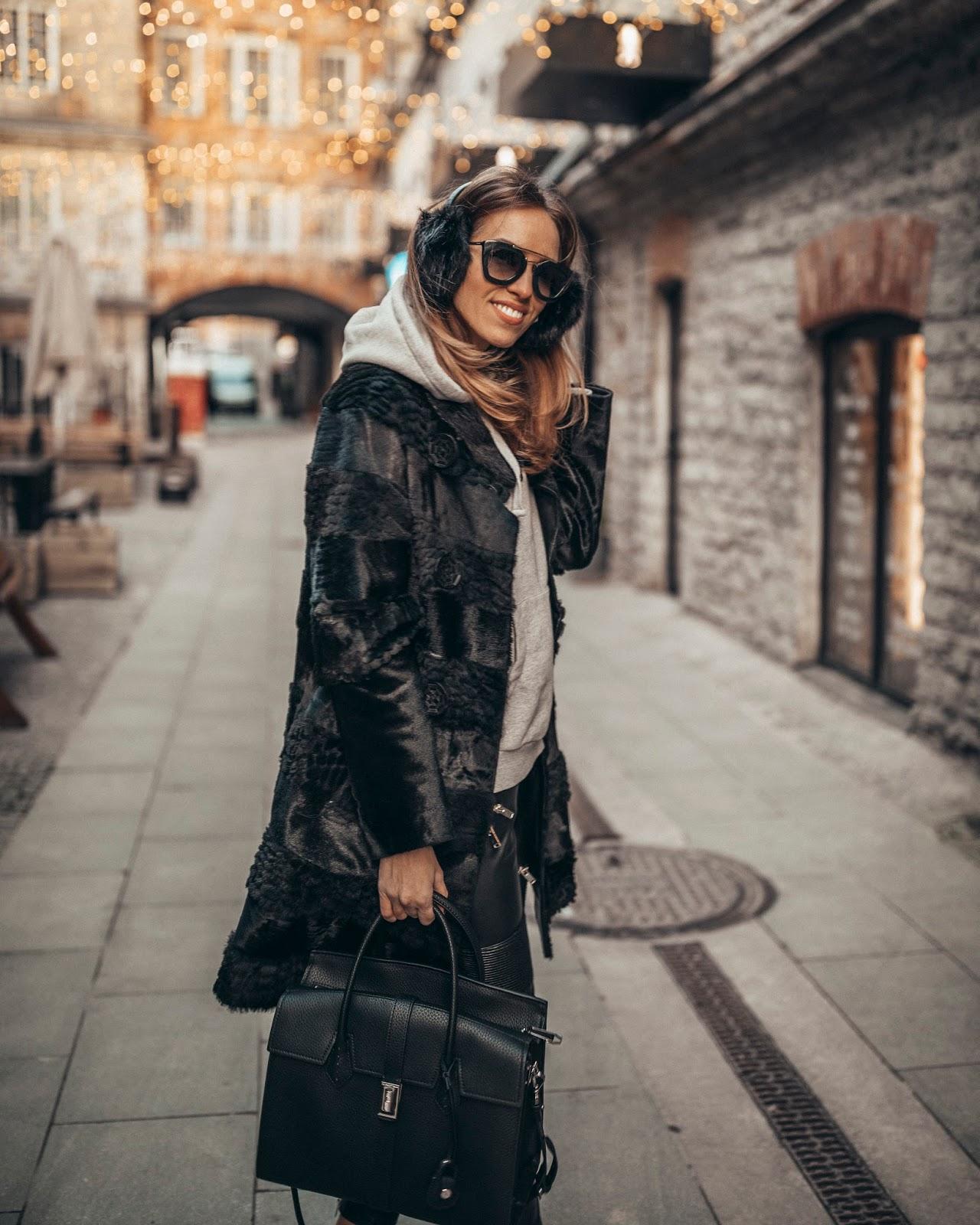 black fur coat hoodie ear muffs outfit winter