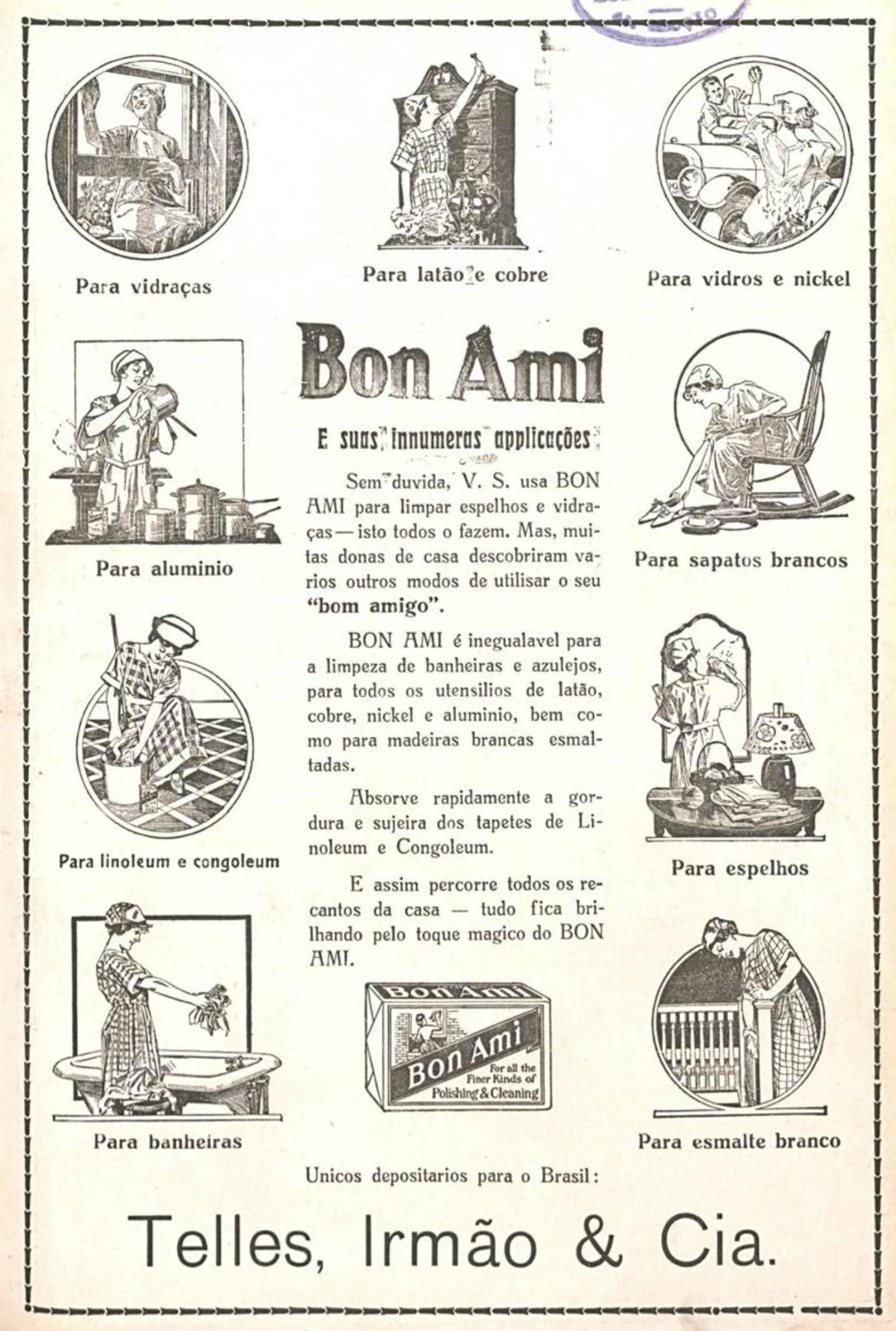 Anúncio antigo da Bon Ami veiculado em 1924 apresentando as mais diversas formas de uso do produto
