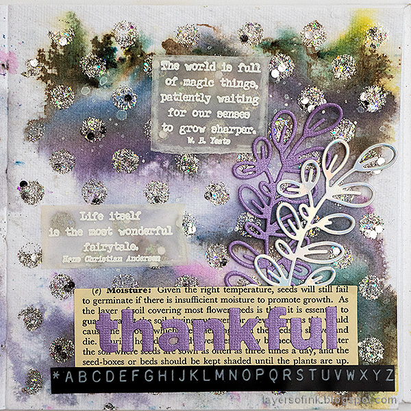 Layers of ink - Grey Weather Art Journal Page Tutorial by Anna-Karin Evaldsson. Paper Artsy Infusions background.