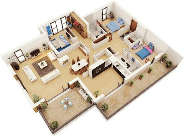 house layout leter l 3 bedrooms
