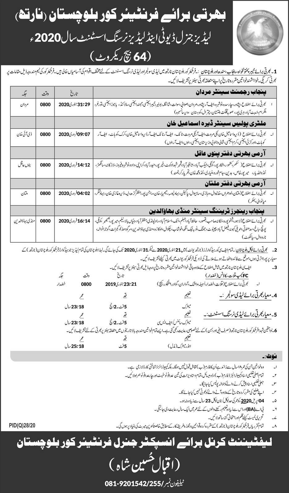 FC 2020 Frontier Corps Jobs - Pakistan Army FC Jobs